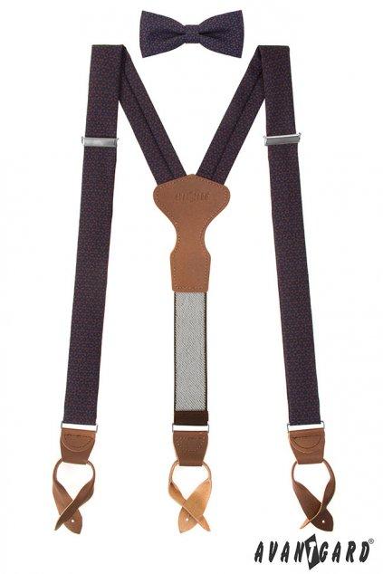 Set Látkové šle Y s koženým středem a poutky - 35 mm, motýlek a kapesníček modrá, tmavě hnědá kůže 885 - 197363