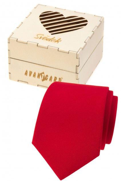 Dárkový set Svědek - Kravata LUX v dárkové dřevěné krabičce s nápisem červená, přírodní dřevo 919 - 985723