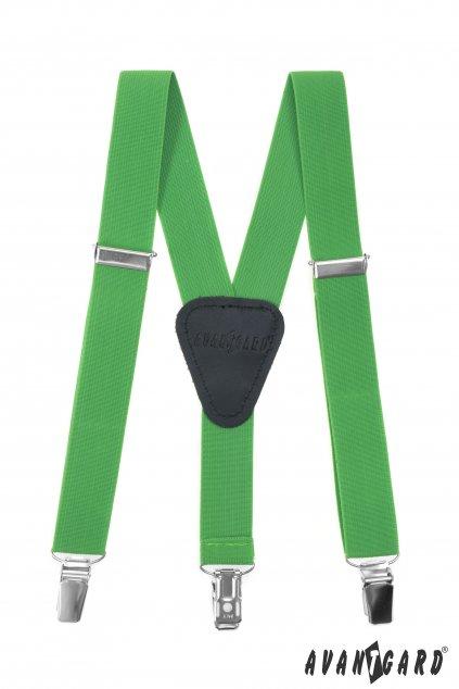 Chlapecké šle Y s koženým středem a zapínáním na klipy - 25 mm zelená, černá kůže 862 - 982923