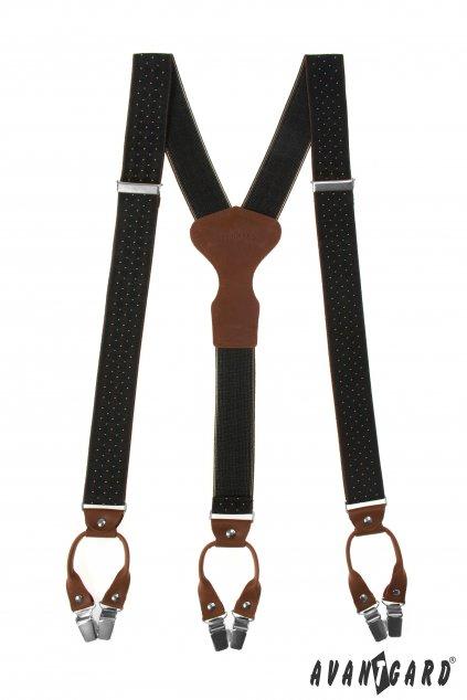 Šle Y s koženým středem a dvojitým zapínáním na klipy - 35 mm - v dřevěné dárkové krabičce černá/hnědá 875 - 2360