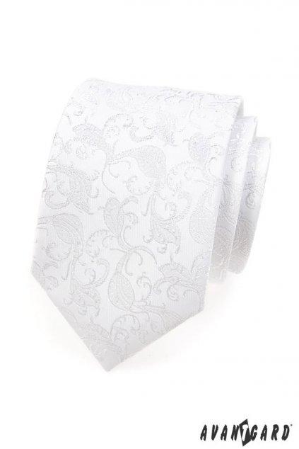 Bílá luxusní kravata s jemným ornamentem 561 - 16