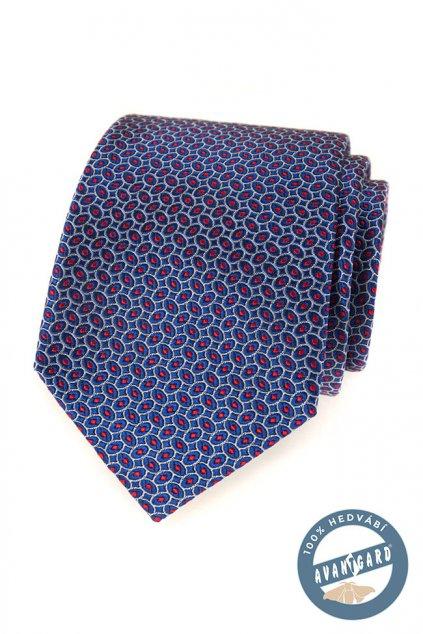 Kravata hedvábná v dárkové krabičce modrá 621 - 7727