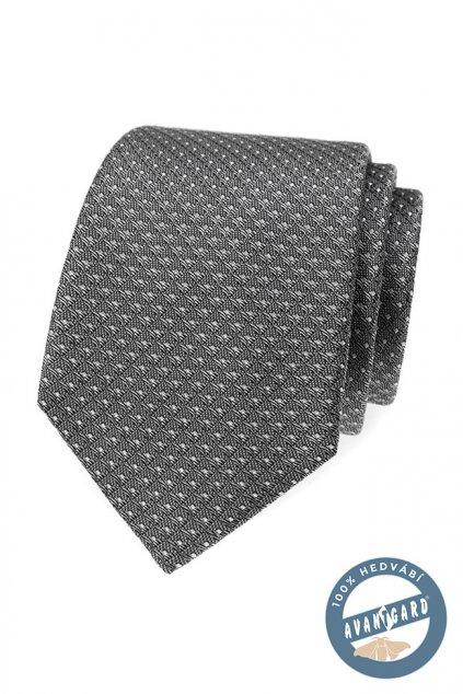 Šedá hedvábná kravata s jemným vzorkem 621 - 7716