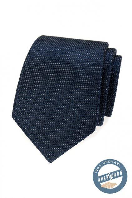Tmavě modrá hedvábná kravata s vroubkem 621 - 7726