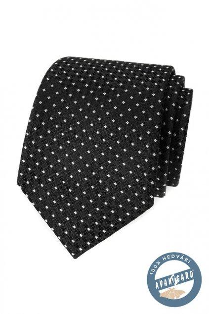 Kravata hedvábná v dárkové krabičce černá 621 - 7730