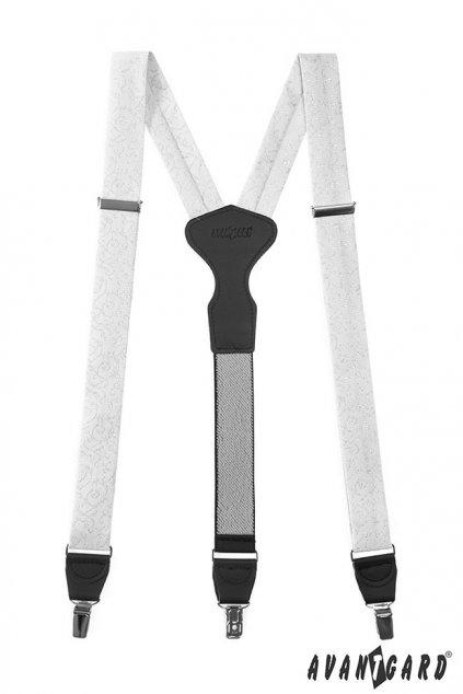 Látkové šle Y s koženým středem a zapínáním na klipy - 35 mm - v dárkovém balení bílá, černá kůže 878 - 935023