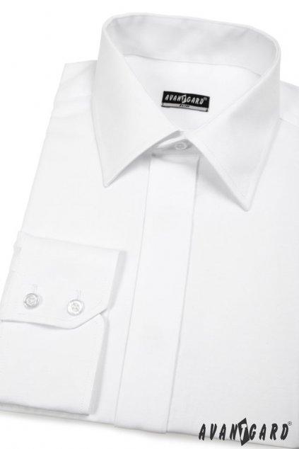 Pánská košile SLIM s krytou légou bílá 162 - 1