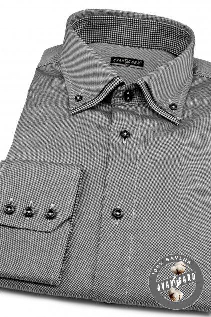 Pánská košile SLIM dl.rukáv šedá 130 - 2223