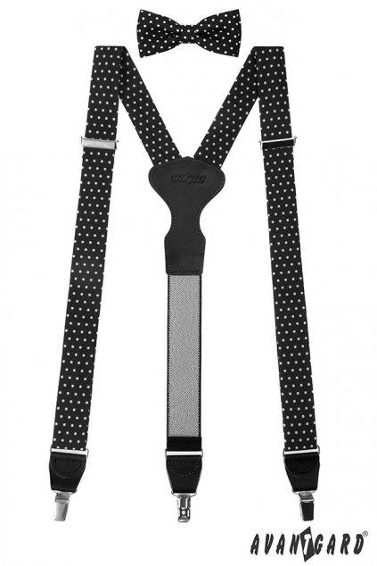Set Látkové šle Y s koženým středem a zapínáním na klipy - 35 mm, motýlek a kapesníček černá s bílými puntíky, černá kůže 881 - 197723