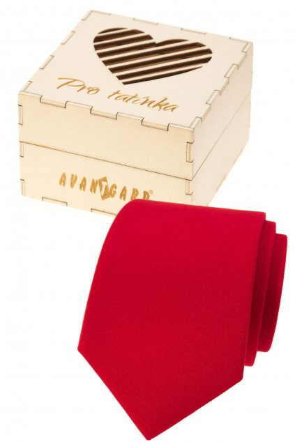 Dárkový set Pro tatínka - Kravata LUX v dárkové dřevěné krabičce s nápisem červená, přírodní dřevo 919 - 985726