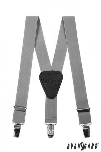 Chlapecké šle Y s koženým středem a zapínáním na klipy - 25 mm šedá, černá kůže 862 - 902123