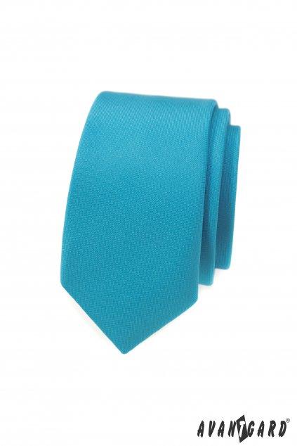 Kravata SLIM tyrkysová mat 551 - 7941