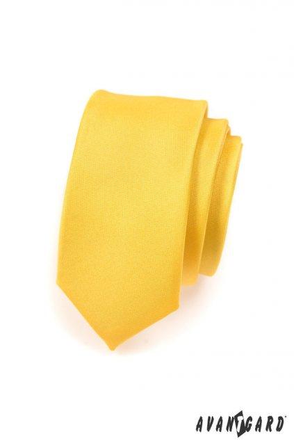 Žlutá kravata Slim matná 551 - 7700