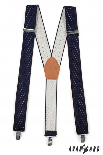 Šle Y s koženým středem a zapínáním na klipy - 35 mm modrá s bílým puntíkem,koňaková kůže 856 - 310269