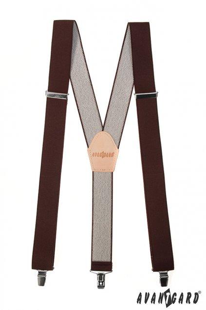 Šle Y s koženým středem a zapínáním na klipy - 35 mm hnědá, béžová kůže 856 - 901812