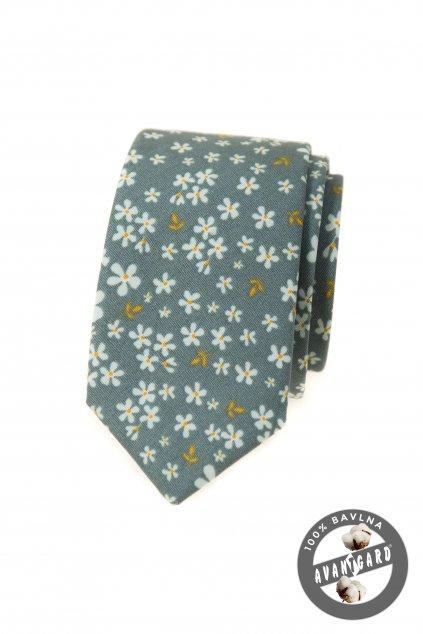 Kravata SLIM LUX bavlněná zelená/olivová 571 - 51034