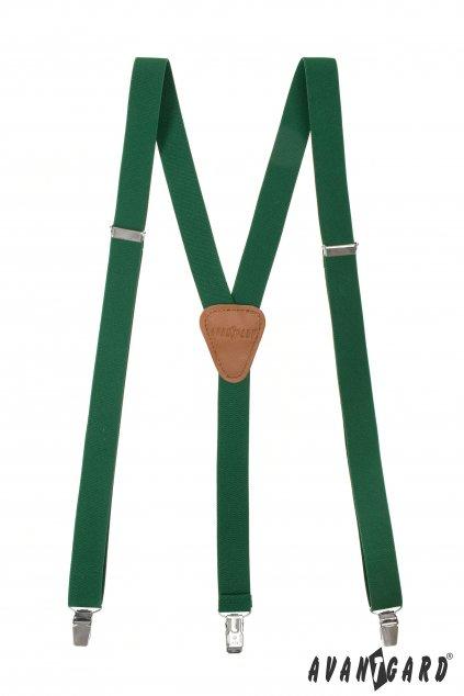 Šle Y s koženým středem a zapínáním na klipy - 25 mm smaragdová, koňaková kůže 867 - 904669