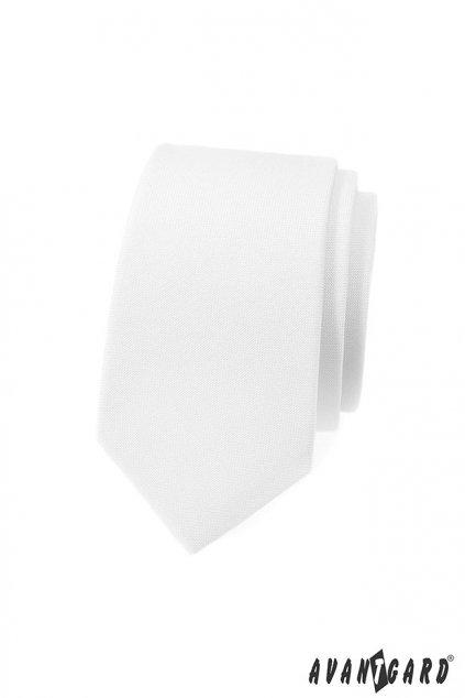 Bílá úzká luxusní kravata 571 - 9846