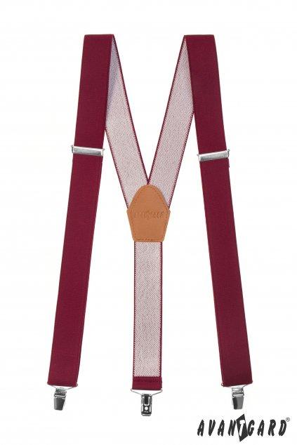 Šle Y s koženým středem a zapínáním na klipy - 35 mm bordó, koňaková kůže 856 - 902269