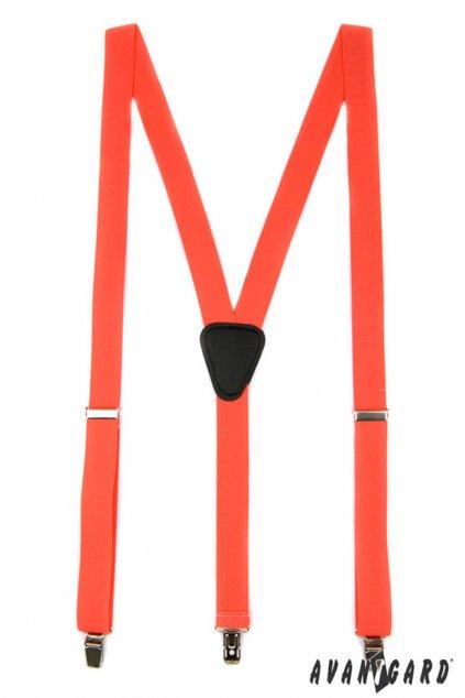 Šle Y s koženým středem a zapínáním na klipy - 25 mm tmavě oranžová, černá kůže 867 - 902523