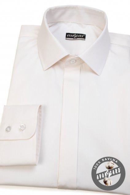 Pánská košile SLIM s krytou légou smetanová 132 - 206