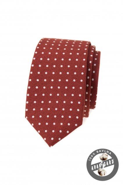 Kravata SLIM LUX bavlněná skořicová 571 - 51037