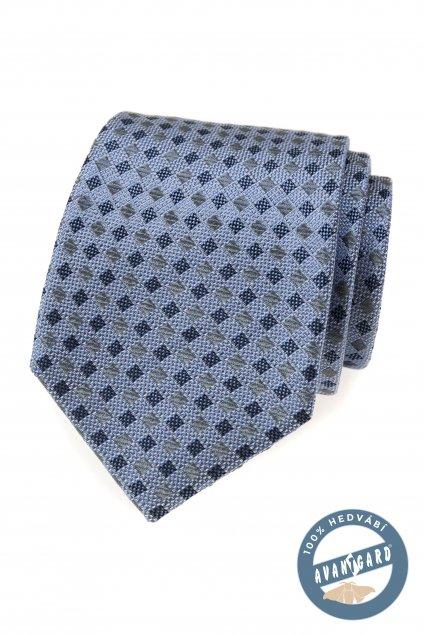 Kravata hedvábná v dárkové krabičce modrá 621 - 7756