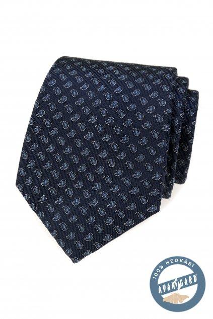 Kravata hedvábná v dárkové krabičce modrá 621 - 7758