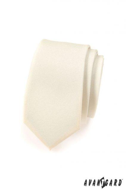 Smetanová kravata Slim matná 551 - 7022