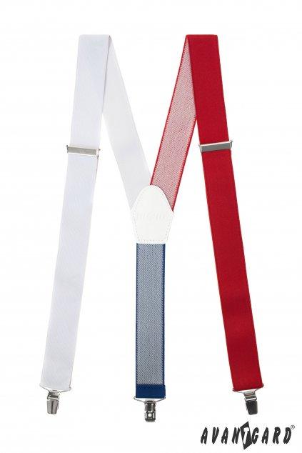 Šle Y s koženým středem a zapínáním na klipy - 35 mm bílá, bílá kůže 856 - 111218