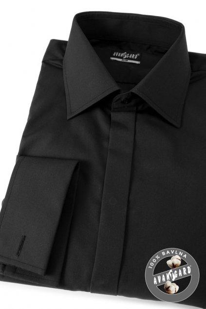Pánská košile SLIM s krytou légou a dvojitými manžetami na manžetové knoflíčky černá 111 - 23