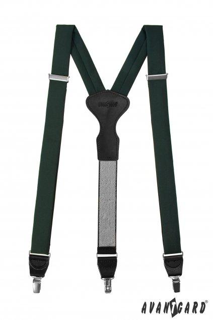 Látkové šle Y s koženým středem a zapínáním na klipy - 35 mm - v dárkovém balení zelená, černá kůže 878 - 986023