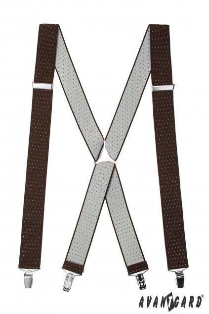 Šle X s kovovým středem a zapínáním na klipy - 35 mm hnědá s bílou tečkou, kovový střed 871 - 6301