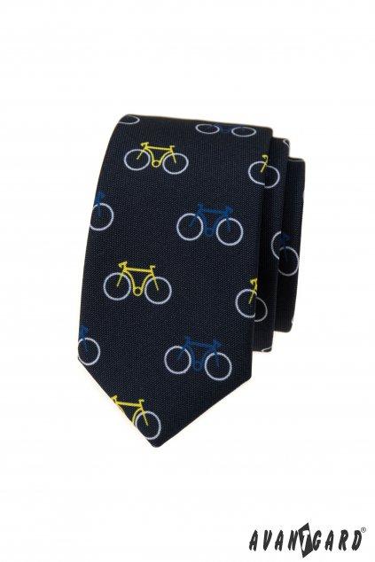 Kravata SLIM LUX modrá / vzor cyklistika 571 - 05009