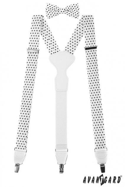 Set Látkové šle Y s koženým středem a zapínáním na klipy - 35 mm, motýlek a kapesníček bílá s černými puntíky, bílá kůže 881 - 197601