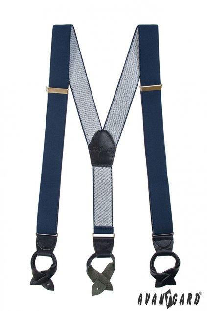 Šle Y s koženým středem a poutky - 35 mm tm. modrá 8743131