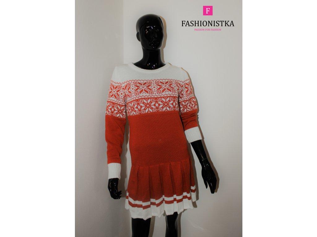 Vánoční dámské šaty mustard-bílé
