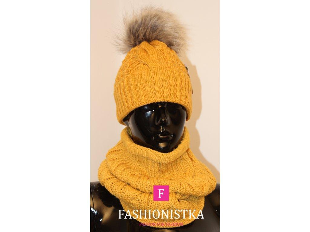 Dámská zateplená zimní čepice s nákrčníkem mustard