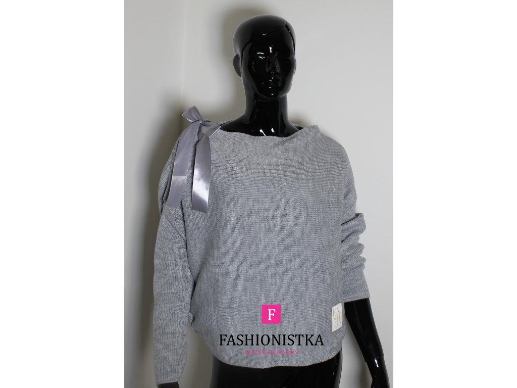 Dámský svetr šedý s mašličkou