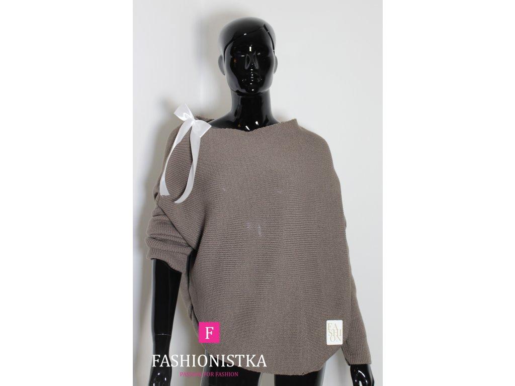 Dámský svetr hnědý s mašličkou