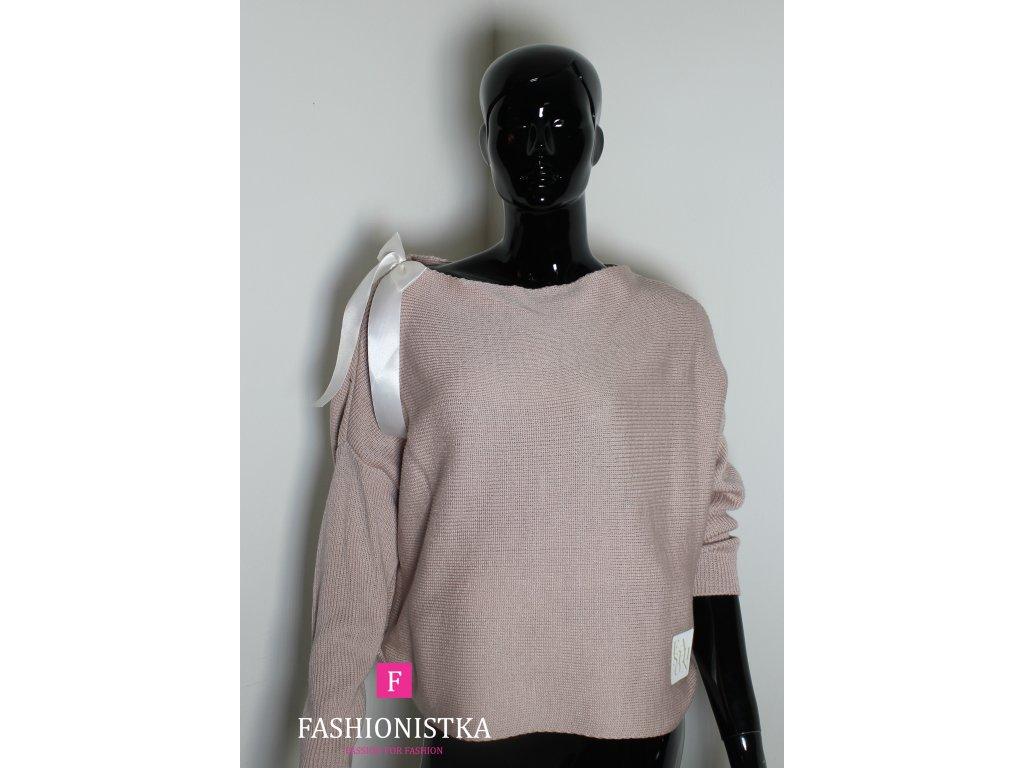 Dámský svetr růžový s mašličkou