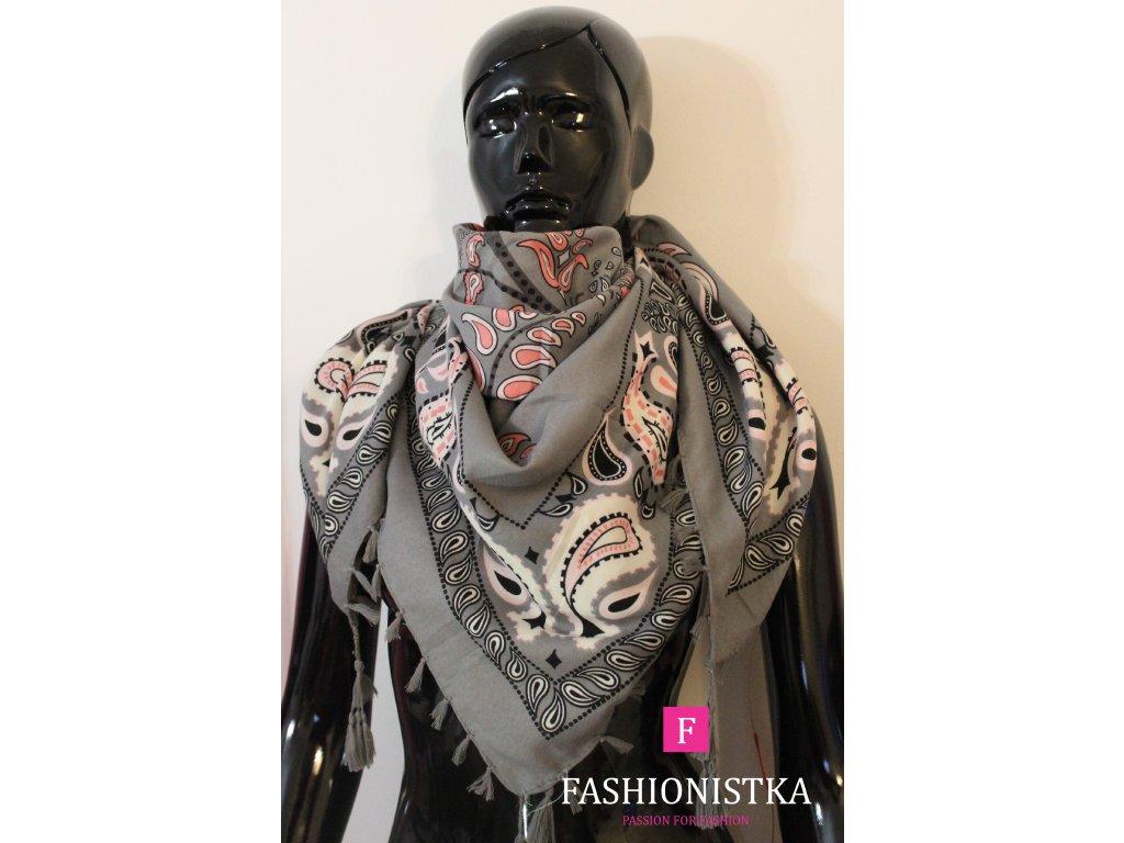 Maxi šátek jaro,podzim/zima šedo růžový se  střapcem