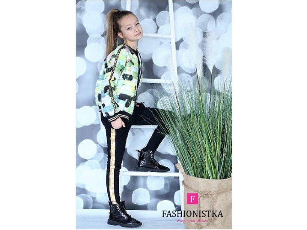 Fashionistka: KALHOTY se zlatým lampasem černé