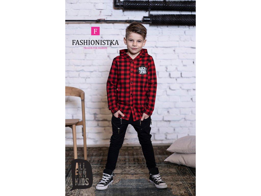 Kostkovaná košile s kapucí red/black