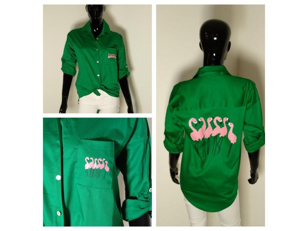 """Super košile v zelené barvě """"PLAMEŇÁCI"""""""