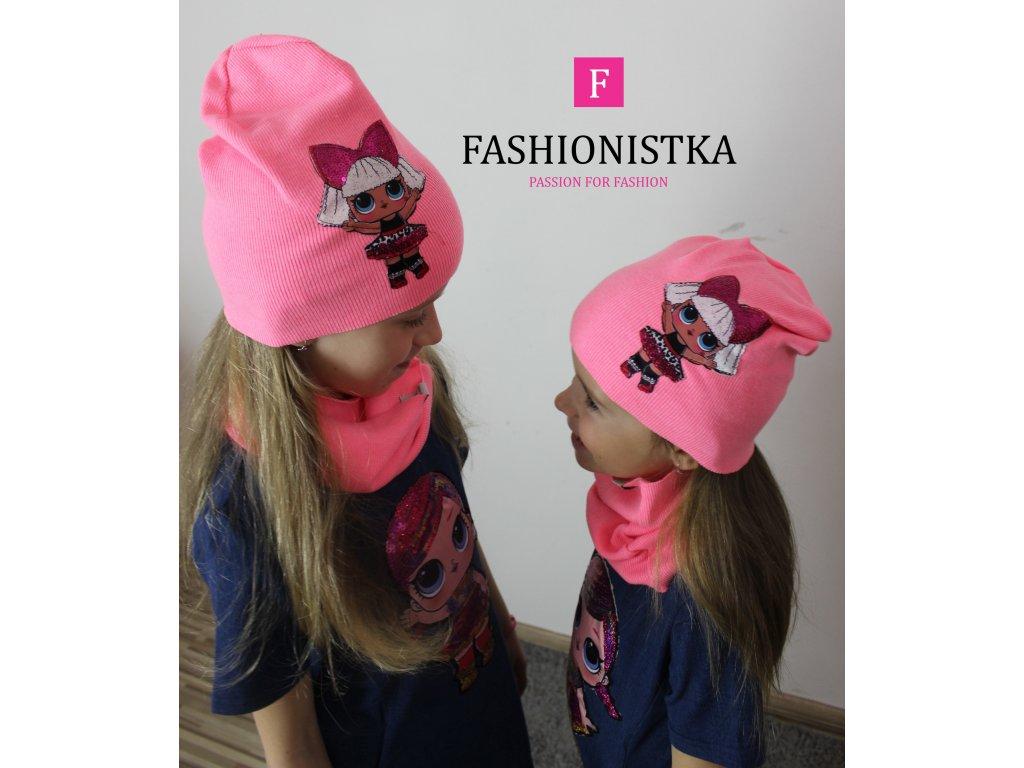 NEON růžová jarní LOL čepice s nákrčníkem
