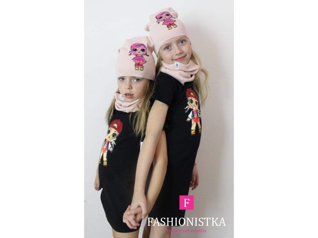růžová jarní LOL čepice s nákrčníkem
