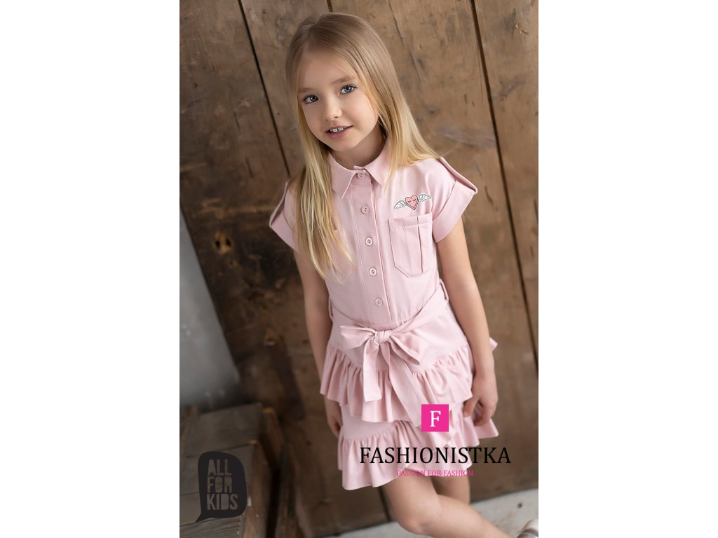 SHINE pink košilové šaty
