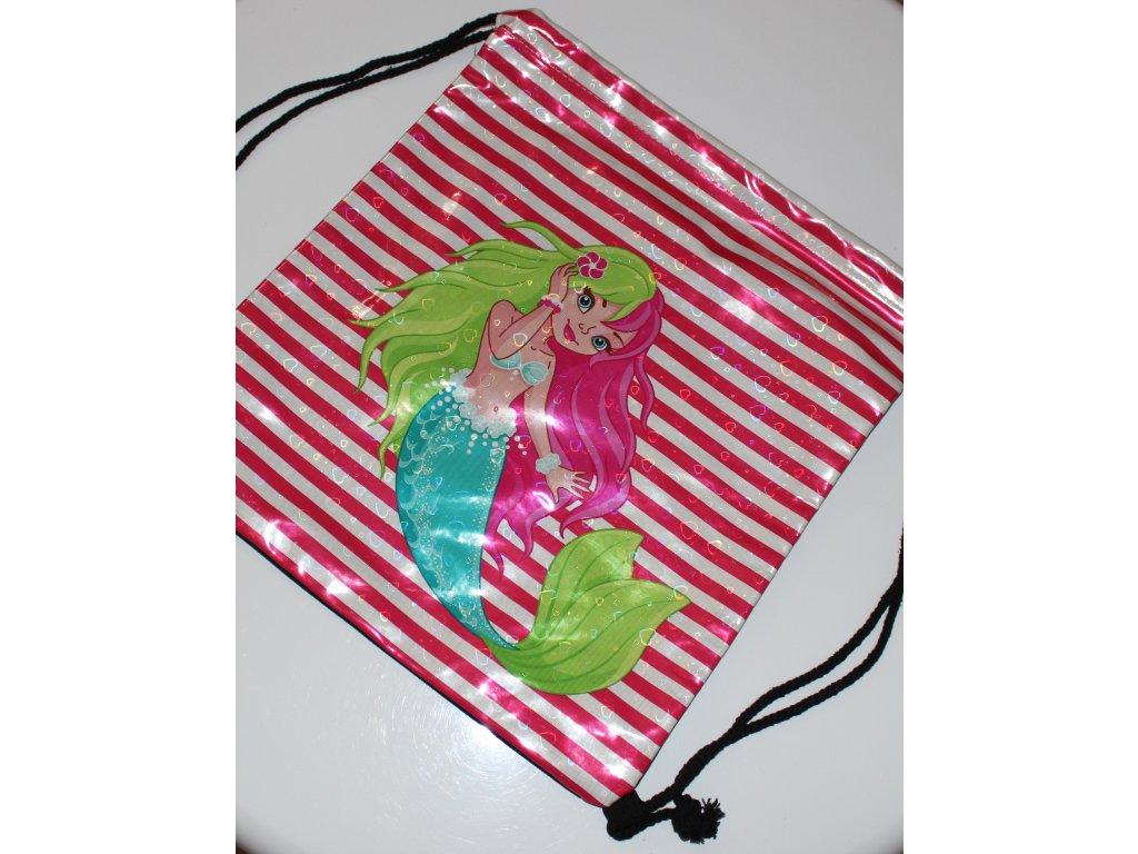 Dívčí pytlový batoh velký pruhovaný