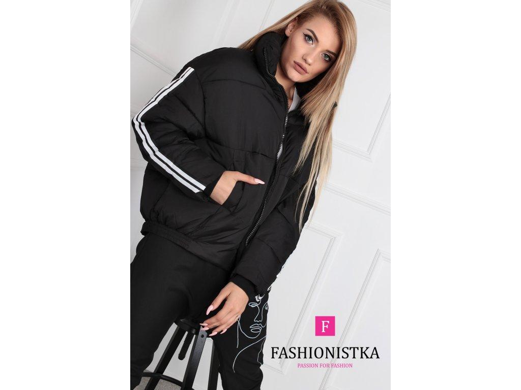 Zimní černá bunda krátká s lampasy